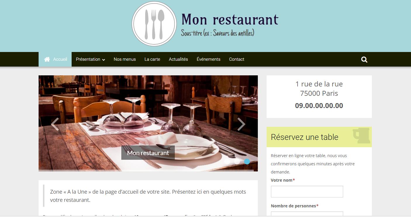 site-restaurantsite vitrine pour restaurant