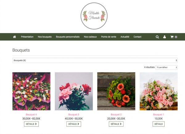 page produit site fleuriste