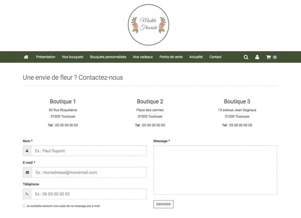 page contact site fleuriste