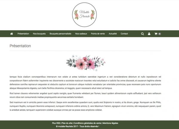 page presentation site fleuriste