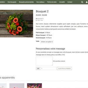 page descriptif produit site fleuriste