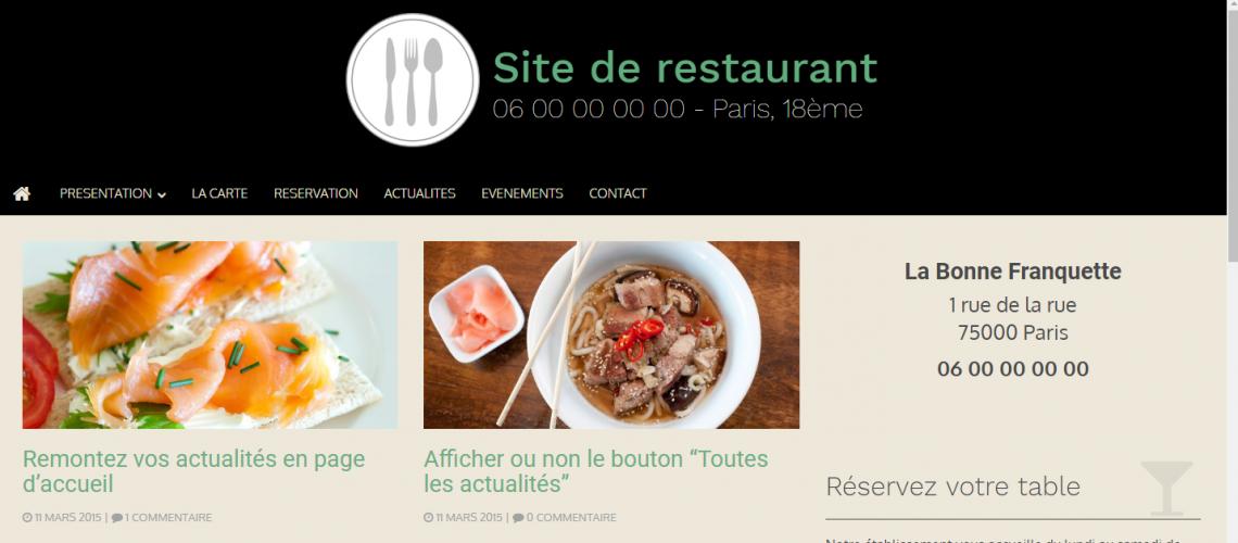 Site pour restaurant